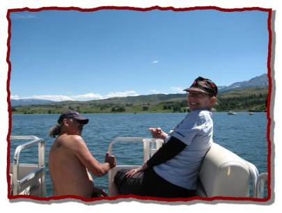 Enjoying a BEAUTIFUL afternoon pontoon cruising on the lake.